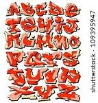 graffiti font alphabet urban...   Shutterstock .eps vector #109395947