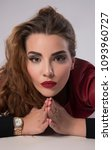 beautiful red head female... | Shutterstock . vector #1093960727