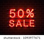 neon 50 sale text banner. night ... | Shutterstock .eps vector #1093977671