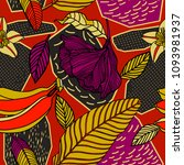 bright exotic pattern in doodle ... | Shutterstock .eps vector #1093981937
