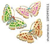 illustration set of brooches... | Shutterstock .eps vector #1093995011