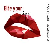 passionate red lips. bite me.... | Shutterstock .eps vector #1094017277