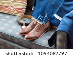 men's leather new brown shoes... | Shutterstock . vector #1094082797