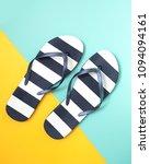 Stripey Flip Flops On Colour...