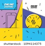 shopping online pop art set... | Shutterstock .eps vector #1094114375