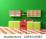 flat retro kitchen interior in... | Shutterstock . vector #1094114387