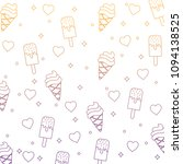 ice cream and hearts pattern  | Shutterstock .eps vector #1094138525