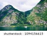 boat riding in fjords | Shutterstock . vector #1094156615