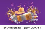 accordion and a cowboy hat... | Shutterstock . vector #1094209754