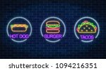 set of three neon glowing signs ... | Shutterstock .eps vector #1094216351