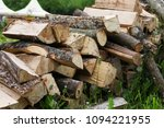 firewood  woodpile  a pile of... | Shutterstock . vector #1094221955
