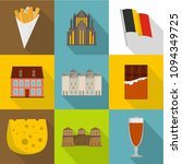 european food icons set. flat...