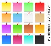 set of blank post it notes with ... | Shutterstock .eps vector #109436609