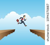 businessman jumping over chasm...   Shutterstock .eps vector #1094370887