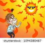 hot  sun and irritated mood man   Shutterstock . vector #1094380487