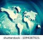 world map on a technological... | Shutterstock . vector #1094387021