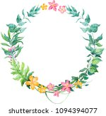 watercolor tropical leaves... | Shutterstock . vector #1094394077