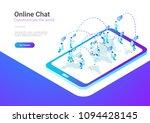 isometric flat  people talking...   Shutterstock .eps vector #1094428145