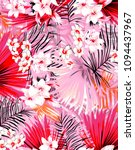 abstract tropical leafs pattern ... | Shutterstock . vector #1094437967