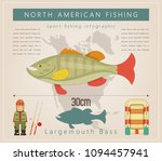 largemouth bass. north american ... | Shutterstock .eps vector #1094457941