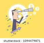 man looking through a telescope ... | Shutterstock .eps vector #1094479871
