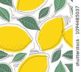 fresh lemons background. hand... | Shutterstock .eps vector #1094485037