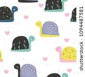 Stock vector cute little snail seamless pattern fashion kids print vector hand drawn illustration 1094487581