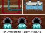 underground water sewer pipe... | Shutterstock .eps vector #1094490641