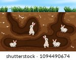 rabbit family living in the... | Shutterstock .eps vector #1094490674