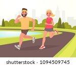 happy couple running around in... | Shutterstock .eps vector #1094509745