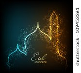 beautiful greeting card for eid ... | Shutterstock . vector #109453361