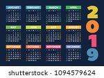 calendar 2019 vector basic grid....   Shutterstock .eps vector #1094579624