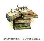 eyeglasses on top stack books   Shutterstock .eps vector #1094583011