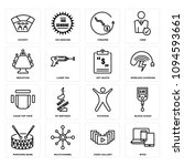 set of 16 simple editable icons ... | Shutterstock .eps vector #1094593661