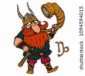 capricorn. funny viking zodiac... | Shutterstock .eps vector #1094594015