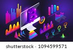 isometric holographic diagrams  ... | Shutterstock .eps vector #1094599571