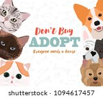 Stock vector illustration with dogs and cats poster for pet adaptation poster editable vector illustration 1094617457