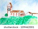children drawing   white church ... | Shutterstock . vector #109462001
