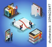 isometric books reading... | Shutterstock .eps vector #1094623697