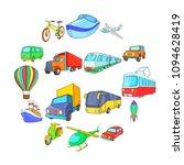 cartoon transport icons set....