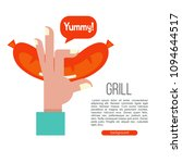 grilled sausage. hand holding a ... | Shutterstock .eps vector #1094644517