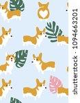 corgi dog and tropical leaf...   Shutterstock .eps vector #1094663201