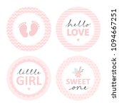 cute baby shower vector sticker.... | Shutterstock .eps vector #1094667251