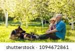 grandfather with granddaughter...   Shutterstock . vector #1094672861