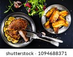 grilled beefsteak with french... | Shutterstock . vector #1094688371