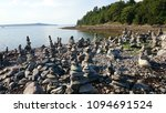 Rock Cairns On Bar Island  Maine