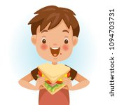 boy eating sandwich. emotional... | Shutterstock .eps vector #1094703731