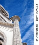 Small photo of Bahai temple in North America (IL), view on the laced column (right side)
