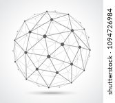 low poly sphere from dots and... | Shutterstock .eps vector #1094726984