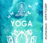 girl in lotus yoga pose on...   Shutterstock .eps vector #1094751089